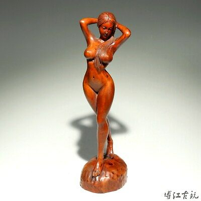 Collect Handwork China Old Boxwood Carve Naked Belle Interesting Decorate Statue