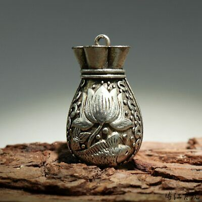 Collectable China Old Miao Silver Hand-Carved Fish & Bloomy Lotus Luck Pendant