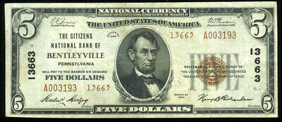 $5 1929 TY2 Citizens National Bank of Bentleyville PA Charter 13663 NO RESERVE