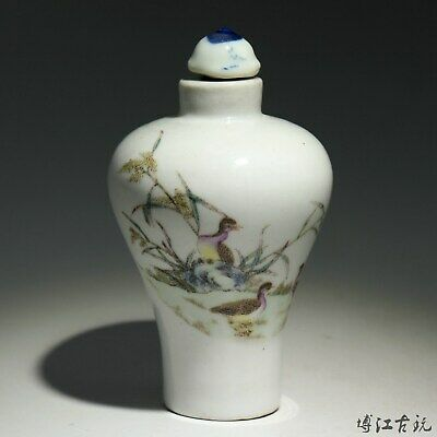 Collect China Old Porcelain Hand-Paint Duck Delicate Unique Noble Snuff Bottle