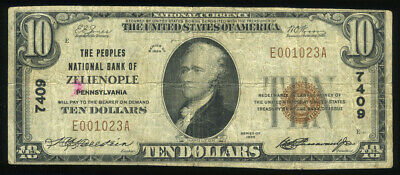 $10 1929 The Peoples National Bank Zelienople PA Charter 7409  LOOK NO RESERVE