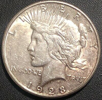 1923 S ABOUT UNCIRCULATED AU Silver Peace Dollar US Old Rare Coin!