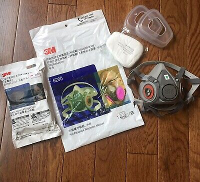 3M6200 Half Facepiece Mask, Cartridges, Covers, Extra Filters, Complete Mask Pkg