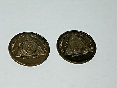2 of 3 Year AA Brass Alcoholics Anonymous Coin Chip Token Medal Serenity Prayer