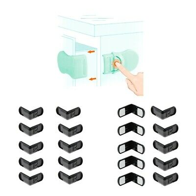 20 Pieces Right Angles Baby Safety Locks No Drill Latch for Cabinet Door