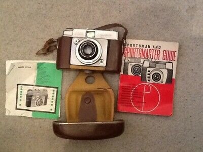 CLASSIC 1960s ILFORD SPORTSMAN VARIO CAMERA in LEATHER CASE.With instructions.