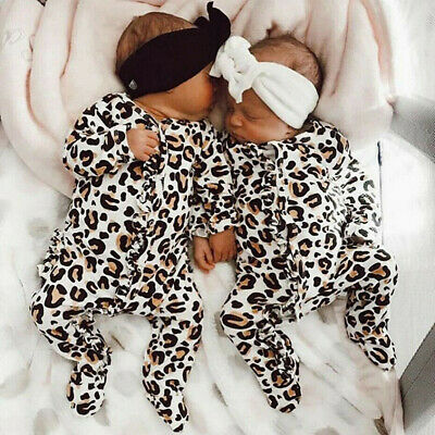 Newborn Infant Baby Girl Boy Leopard Printed Romper Jumpsuit Outfits Clothes