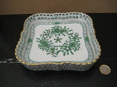 Vintage Herend Hungary Waldstein Reticulated Pierced Square Tray 7510/Wl Green