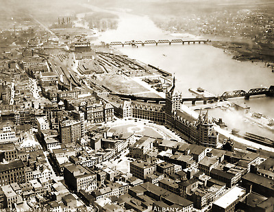 """Aerial View of Albany, New York Vintage Old Photo 8.5"""" x 11"""" Reprint"""