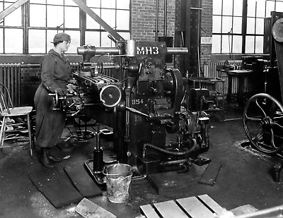 """1914-1918 Woman On a Milling Machine, MA Vintage Old Photo 8.5"""" x 11"""" Reprint"""