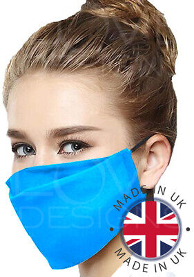 Premium 100% Cotton Face Cover Mouth Nose Visor Washable Reusable HANDMADE in UK