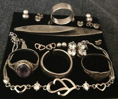 Sterling Silver 925 Joblot Jewellery Rings Bracelet Earrings Vintage Bookmark