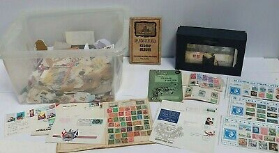 Job Lot LOOSE STAMPS and STAMP ALBUMS FIRST COVERS Mixed Eras Nationalities- 232