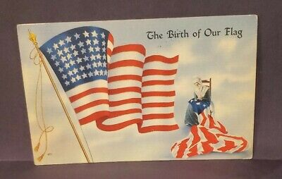 The Birth Of Our Flag Linen Postcard