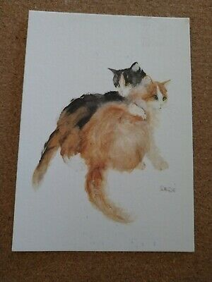 Greeting Postcard/Notecard. Cats. Artist Dede Moser. Two cats Orange and black m
