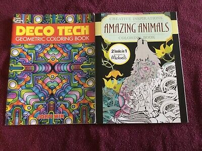 Michael's 2 in 1 amazing animals + geometric coloring 2 Adult coloring books