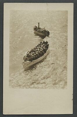 c.1910 RPPC Photo Postcard American Steamboat Pulling Transport of US Sailors