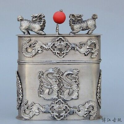Collectable Old Miao Silver Hand-Carved Myth Dragon Auspicious Cigarette Case