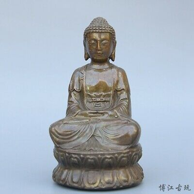 Collectable China Old Bronze Hand-Carved Lotus Kwan-Yin Delicate Buddhism Statue