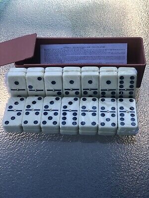 DOMINOES Classic Set of 28 Double Six W Center Pin Domino Tile With Plastic Case