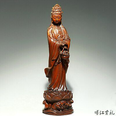 Collectable China Old Boxwood Hand-Carved Buddhism Kwan-Yin Auspicious Statue