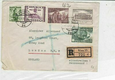 austria 1955 men buildings + united nations stamps cover ref 21214