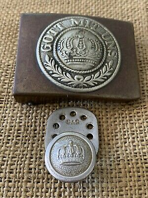 WWI GERMAN Brass Belt Buckle with Belt Rump Hanger Original