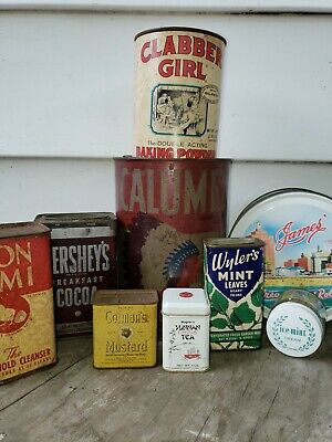 Vintage Lot of 9 Cans Tins DECOR ADVERTISING