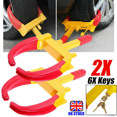 2 Sets Steel Anti-Theft Security Locking Heavy Duty Car Tyre Wheel Lock Clamps