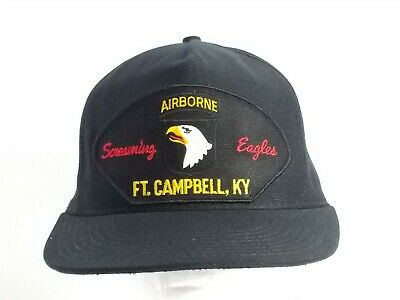 US Army 101st Airborne Screaming Eagles Black Ball Cap Hat Military Snapback