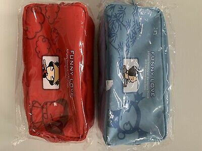 Set Of 2 NEW RARE PUCCA and Garu Zippered Pencil Pen Coin Pouch Bags ANIME