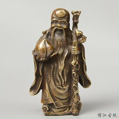 Collectable China Old Bronze Hand-Carved Immortal & Flat Peach Auspicious Statue