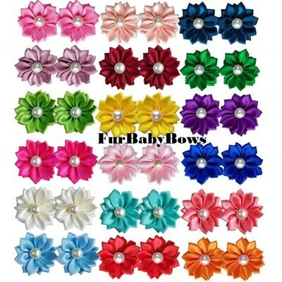30 Cute Pearl Pet Puppy bows Yorkie Dog Puppy Grooming *1 FREE July 4th Bow