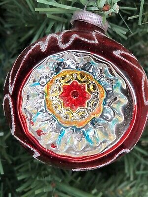Vintage glass Christmas Ornament indent mercury glass West Germany red