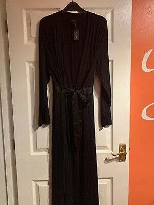 LADYS Figleaves Camelia Soft Touch Long Black Robe, Size Large, New