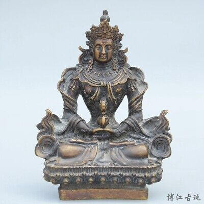 Collect China Old Bronze Hand-Carved Happy Buddha Moral Exorcism Decorate Statue