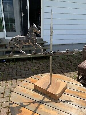vintage HORSE weather vane/weathervane topper,hollowed tin, very weathered
