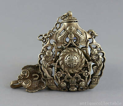 Collect Old Tibet Silver Hand Carve Bat & Fish & Fairchild Delicate Snuff Bottle