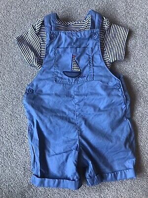 Marks And Spencer Boys Sail Boat Dungaree Outfit Age 6-9 Months