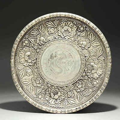Collect China Old Miao Silver Hand-Carved Myth Dragon & Flower Bring Luck Dish