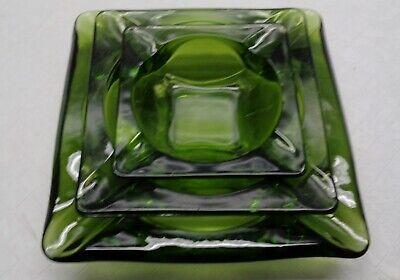 "3 Vintage Green Anchor Hocking Glass Square Avocado Ashtrays Mod 6"" 4.5"" 3.5"""