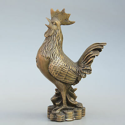 Collectable China Old Bronze Hand-Carved Big Rooster & Wealth Bring Luck Statue
