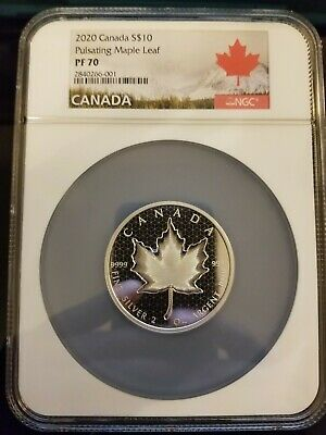 2020 2 ounce Silver Canadian Pulsating Maple Leaf Coin - NGC PF70
