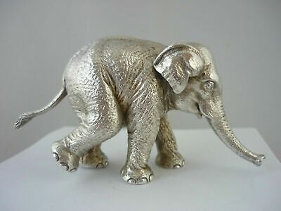 Superb Vintage Heavy Solid Sterling Silver Elephant Statue By William Comyns