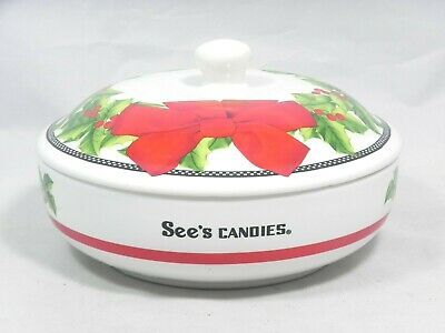 See's Candies Ceramic Christmas Covered Candy Dish Holly & Berries Bowl Red Bow