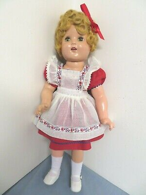 "Vintage 1937 Ideal 18"" Shirley Temple Doll Composition Orig. Heidi Dress Ex. Con"