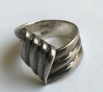 925 Modernist Sterling Silver Ring Signed Nd