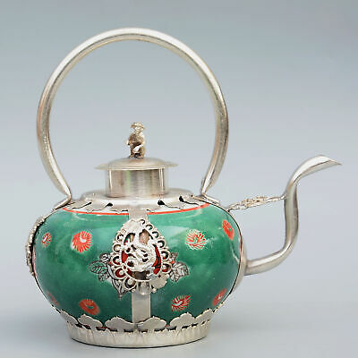 Collectable Old Miao Silver Armour Porcelain Carve Monkey & Myth Dragon Tea Pot
