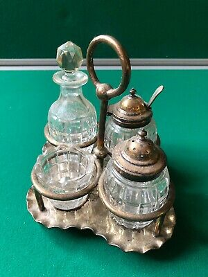 vintage silver plated condiment set used