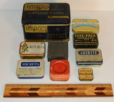 Lot of 9 Vintage Tins : Medicine Mints Hardware Stationery NR